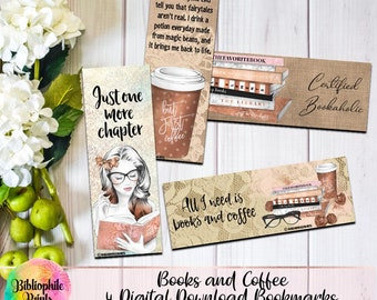 Books and Coffee Bookmarks - Digital Bookmarks - Digital Download - Bookmark - Watercolor Bookmarks - Character Bookmarks