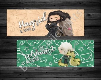 Game Keeper and Tom Double Sided Bookmark - Cute Villains and Heroes Hugging Animals - Bookmarks - Bookmarker - Wizard Boy