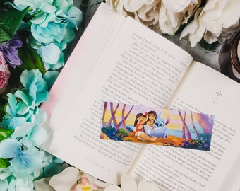 Island Princess Reading to Girl and Alien Scene Bookmark - Characters Bookmark - Fun Summer Beach Bookmark - Gift for Readers Planners