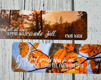 Fall Quotes Double Sided Bookmark - Autumn Leaves Bookmarks - Bookmarker - For Readers - Quotes - Reading - Book Accessory Bookstagram
