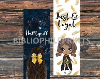 Wizarding House of the Loyal Girl Double Sided Bookmark - Brunette, Dark Skin - Personalized, Girls, Kids, Unique, YA, no tassel, women gift