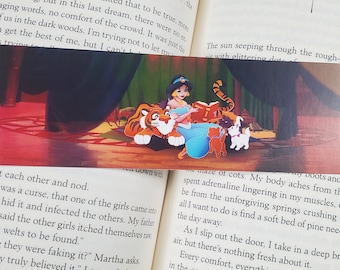 Princess Reading to the Kittens and Tiger Scene Bookmark - Bookmarks for kids, girls, women, cat lovers - cool cute unique thin 2x6 inches