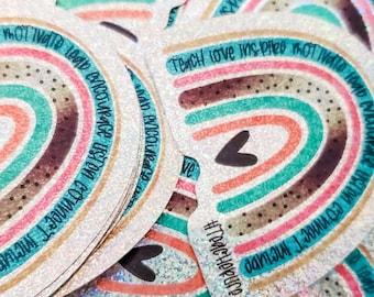 Teacher Life Rainbow  - Holographic Glitter Vinyl Stickers - Vinyl Glittery Sticker - Laptop Stickers - Planner Girl - Planner Sticker