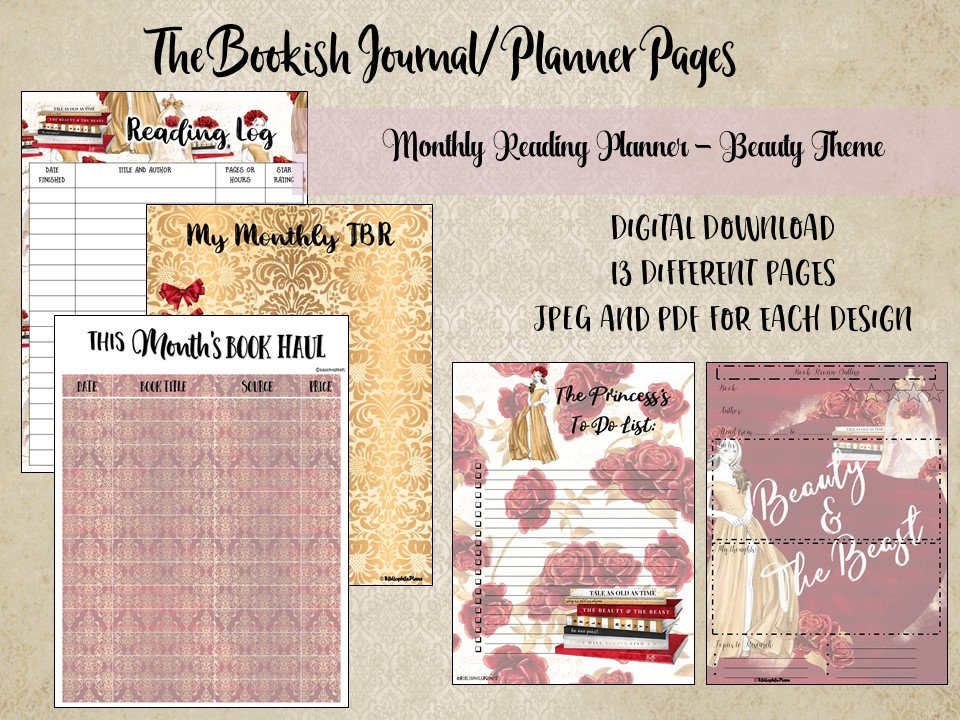 Monthly Reading Planner Beauty Theme- Reading Log- Reading Reviews- Digital  Download - Planner Download - Journal Download