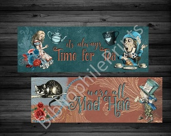 Teal and Crimson Vintage Alice Double Sided Bookmark - Alice in Wonderland - The Mad Hatter - Tea Time - Bookmarks - Bookmarker- For Readers