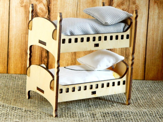 Bunk Bed For Dolls Wood Bed For Dolls Wood Baby Doll Bed Wood Etsy