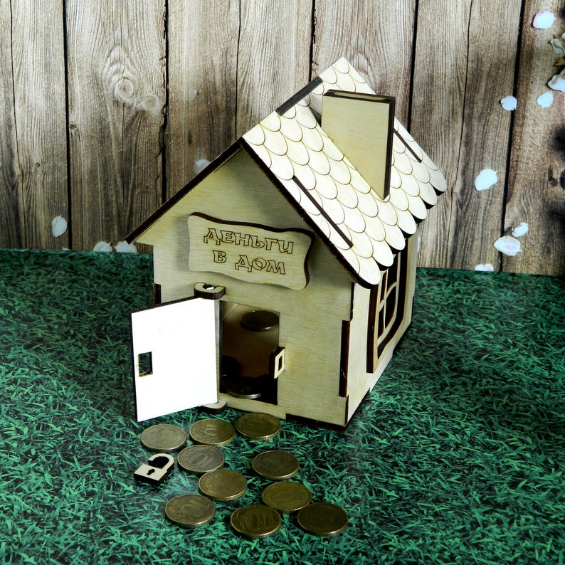Wooden coin bank Wood coin bank Wooden piggy bank Wood bank image 0