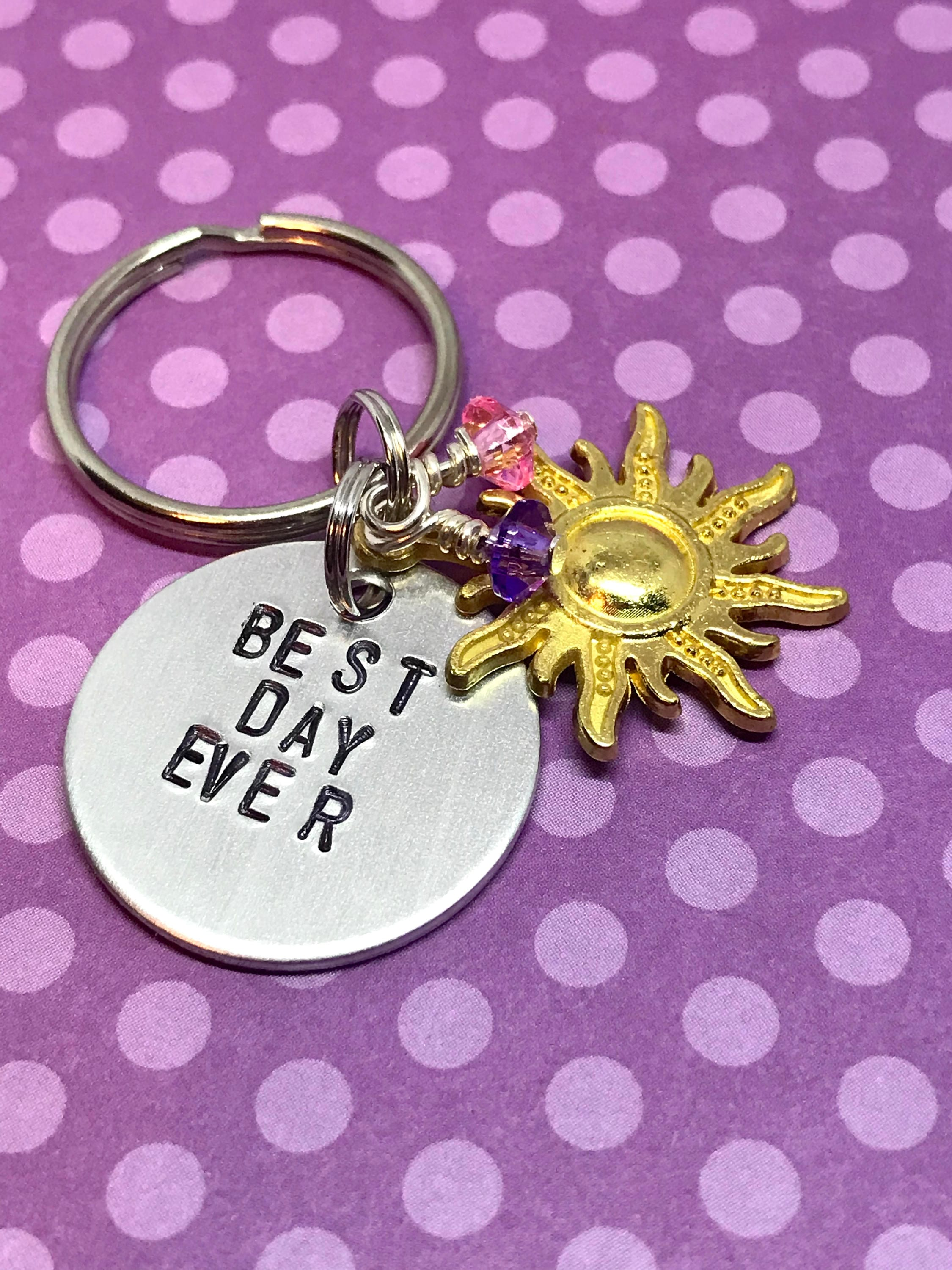 tangled rapunzel inspired hand stamped keychain best day ever