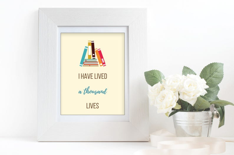Book Lover Word Art Quote I Have Lived A Thousand Etsy