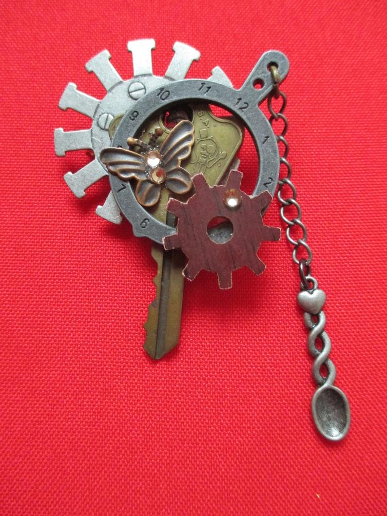 Butterfly Key Gear Steampunk Brooch   Etsy