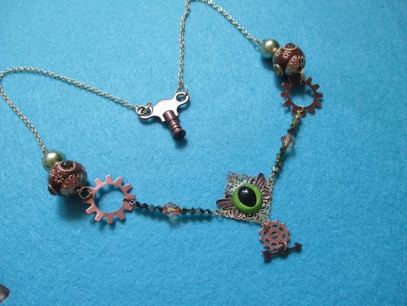 Steam Punk Eye Butterfly Gears N/' Cogs Steam Punk Industrial Necklace