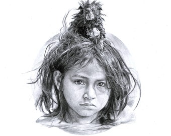 Little monkey girl - Realistic Drawing. Pencil on paper. Drawn by Jake Eaton. A3 - A5 sizes available.