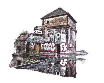 Old Ice Factory,Berlin (Ice Fabrik). Realistic Drawing - Ballpoint pen and fineliners. Graffiti and Urban Artwork. Drawn by Jake Eaton.