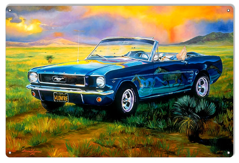Mustang Classic Car Wild And Free Garage Shop Man Cave Metal Sign By Donna Wayman-Mauer 12x18 .040 Aluminum RG7791