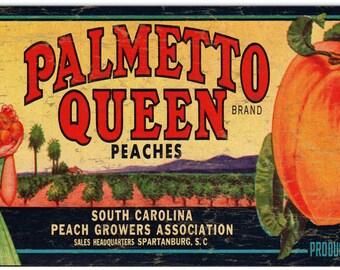 Nostalgic Palmetto Queen Brand Peaches Label  Art RG939