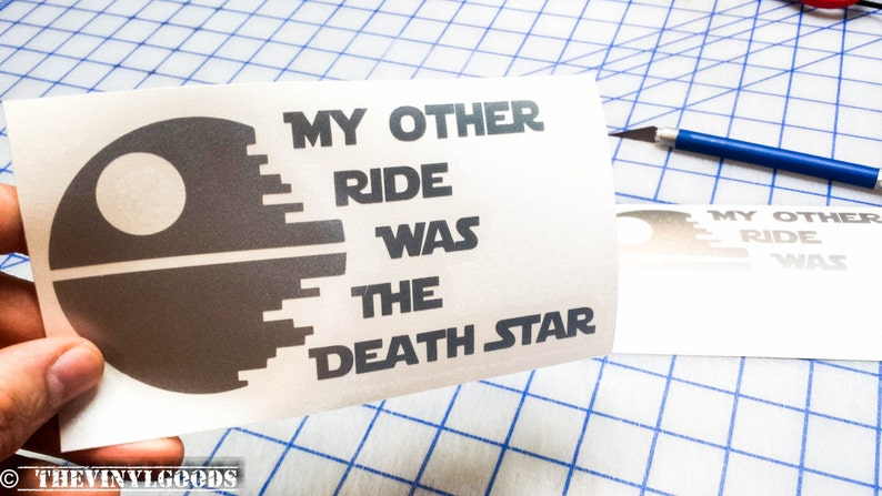 Death Star Funny Car decal. My Other Ride Was the Death Star vinyl decal. Death Star Other Ride decal..