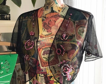 90s Black See Through Floral Embroidered Open Bolero Cardigan