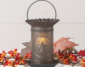 Rustic Punched Tin Wax Warmer with Chiseled Star