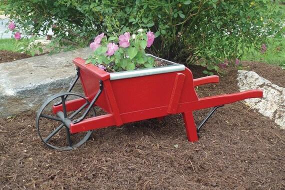 Amish Handcrafted Wooden Wheelbarrow Planter Etsy