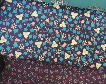 set Vintage wallpapers flowers and vines blue turquoise brown
