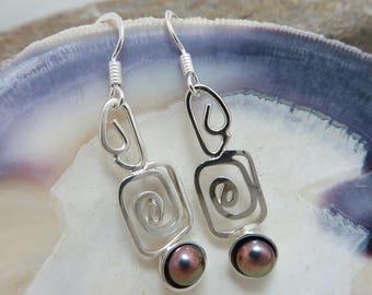 Silver and purple copper earrings