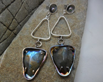 Sterling silver earrings with Labradorite and pearls