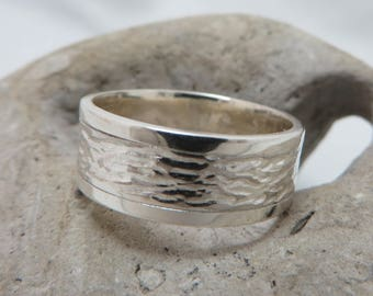 Large textured sterling silver ring
