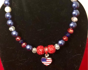 """Patriotic Jewelry Set Red, White & Blue Beads w/Heart 18"""" or American Girl Doll."""