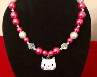"""Sweet Jewelry Set Pink & White Pearls Kitty Charm 18"""" or American Girl Doll."""