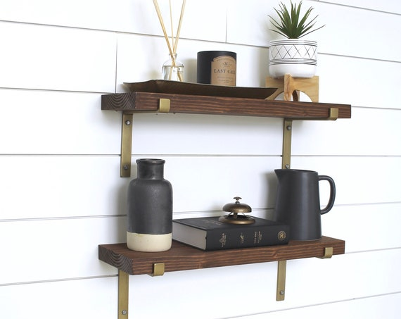 Gold Metal Bracket Shelves, Floating Shelves, Open Shelving, Floating Shelf Bracket, Industrial Shelves, Iron Bracket, Shelf Bracket