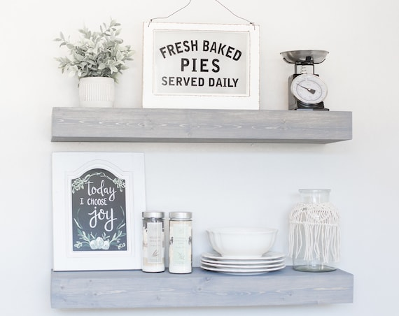 Floating Shelf | Rustic Floating Shelf | Ledge Shelf | Wooden Floating Shelf | Floating Shelves | Farmhouse Decor | Chunky Shelves | Gray