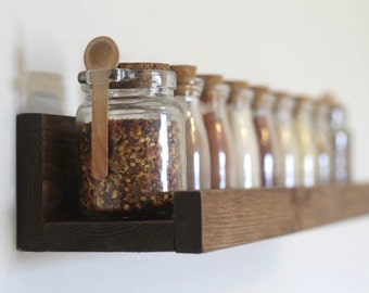 Rustic Wooden Spice Rack Ledge Shelf, Ledge Shelves, Wooden Rack, Rustic Home Decor, Picture Ledge Shelves, Kitchen Rack, Farmhouse Decor