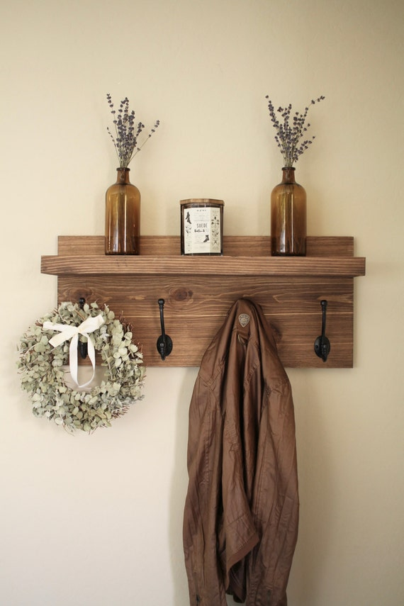 Shelves White Walls And Entry Ways: Rustic Wooden Entryway Coat Rack Rustic Wooden Shelf