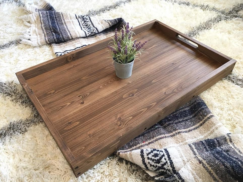 Rustic Wooden Ottoman Tray, Coffee Table Tray, Serving Tray, Wooden Tray,  Rustic Home Decor, Farmhouse Decor, Rustic Tray, Wood Tray