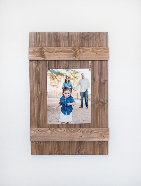 Rustic Wooden 8x10 Picture Frame, Rustic Frame, Clothespin Picture Frame, Wooden Frame, Rustic Home Decor, Wedding Frame, Farmhouse Decor