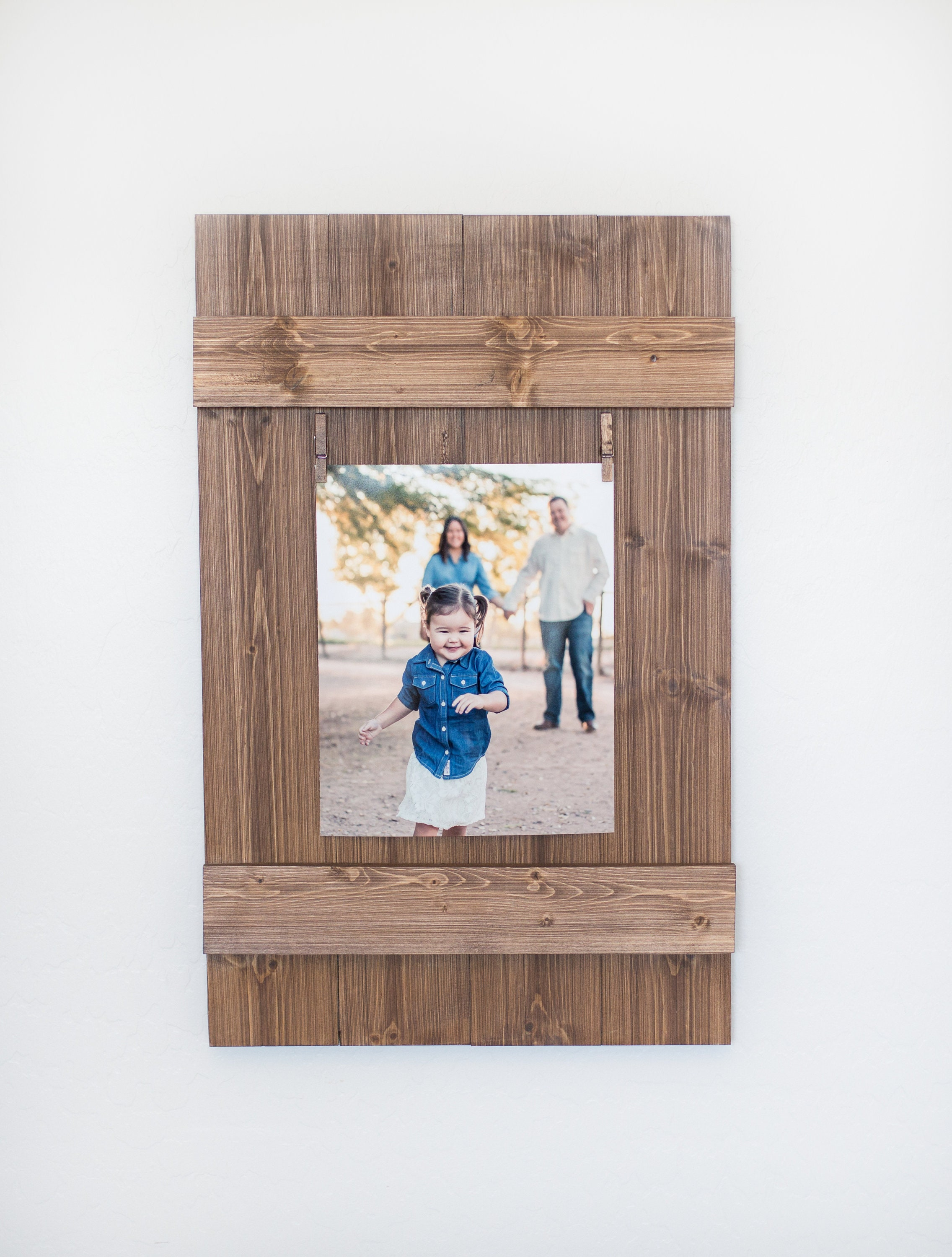 Rustic Wooden 8x10 Picture Frame, Rustic Frame, Clothespin Picture ...