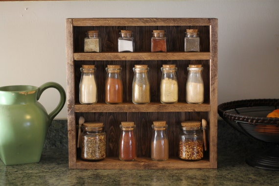 Rustic Wooden Spice Rack, Wooden Spice Rack, Kitchen Rack, Wedding Gift, Housewarming Gift, Spice Rack, Wood Shelf, Kitchen Shelf, Farmhouse