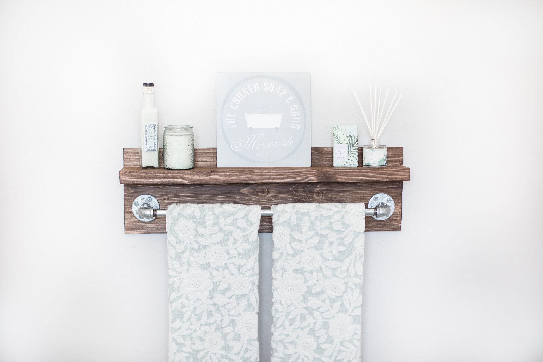 Rustic Industrial Bath Towel Rack, Bathroom Shelf, Rustic Home Decor ...