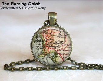 ADELAIDE Map Pendant • Vintage Adelaide • Old Adelaide Map • South Australia • Necklace • Gift Under 20 • Made in Australia (P1181)
