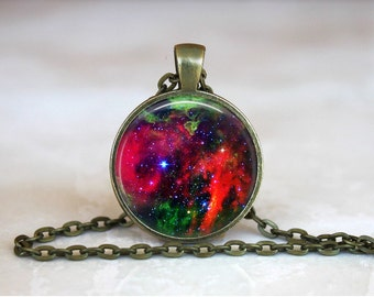 NEBULA RED NIGHT Sky Pendant • Space • Galaxy • Universe • Celestial • Necklace • Gift Under 20 • Made in Australia (P0312)