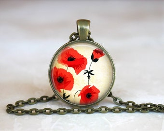 POPPY Pendant • Poppies • Red Flower • Flower Art Jewelry • Necklace • Gift Under 20 • Made in Australia (P0155)