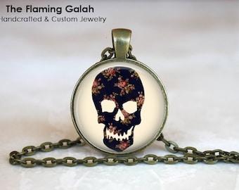 BLACK SKULL Pendant • Boho Skull • Day of the Dead Skull • Human Skull • Bohemian Skull • Gift Under 20 • Made in Australia (P0531)