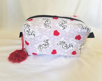 Christina Makeup Bag // Crazy Cat Lady Travel Pouch with Zipper