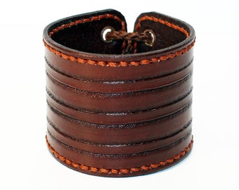 Brown Leather Cuff Bracelet Unique item Nice gift Best gift Best quality! Handmade Leather Accessories Handmade leather cuff