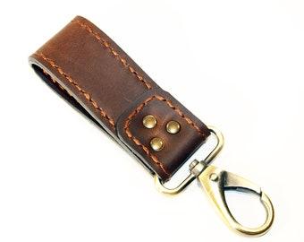 Leather key chain, leather key fob, handmade brown key chain, leather key ring, handmade leather accessories.