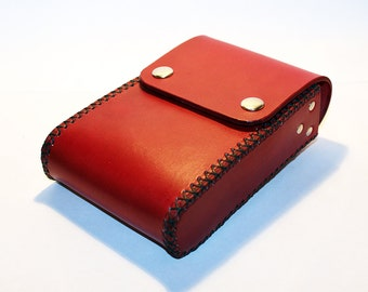 Belt Pouch! Leather Handmade Pouch! Red Belt Purse! Belt Bag! Hip Bag! Medieval Pouch! Leather Bag! Leather Purse!