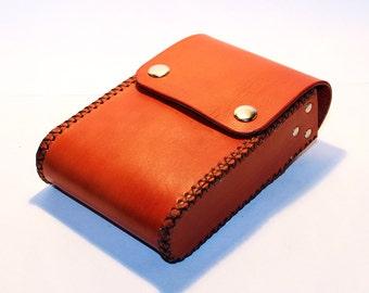 Belt Pouch! Leather Handmade Pouch! Orange Belt Purse! Belt Bag! Hip Bag! Medieval Pouch! Leather Bag! Leather Purse!