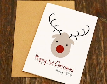 Babies First Christmas Card - Blank Greeting Card - Christmas Art - Christmas Card - Baby Christmas Card - Blank