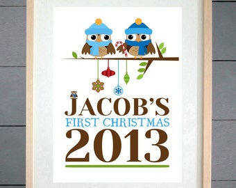 Babies First Christmas Personalised Print - Christmas Gift - Free Delivery - First Christmas