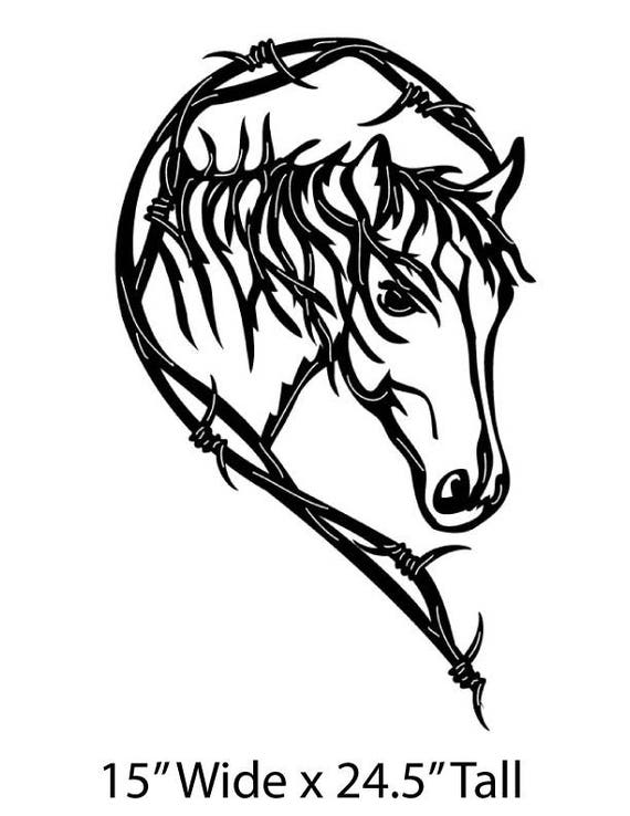 Metal Horse Heart Love Of Horses Barbed Wire Wall Art Sign